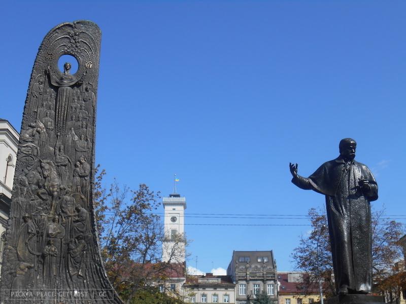 Lviv, Prospekt Svobody, monumento a Taras Shevchenko