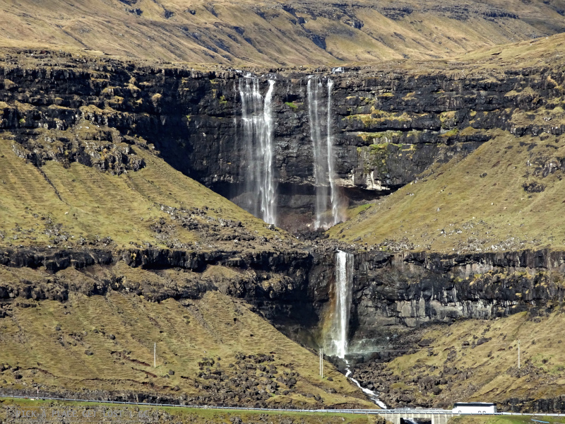 Faroe Islands. On the way to Gjógv. Fossá Waterfall