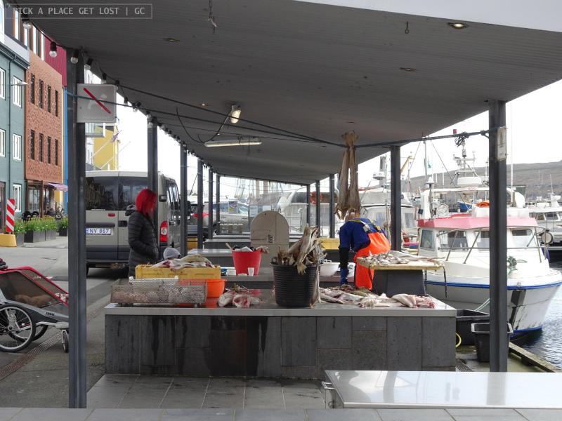 Faroe Islands. Torshavn, Sølutorgið (fish stalls)