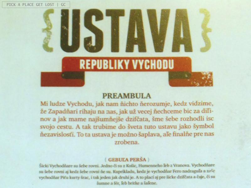 Košice, Slovakia. Republika východu, Constitution of the Republic